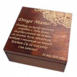 Szkatułka/pudełko z grawerem na Dzień Matki wzór nr 1-bejcowana i lakierowana
