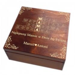 Szkatułka/pudełko z grawerem na Dzień Matki wzór nr 3-bejcowana i lakierowana