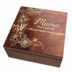 Szkatułka/pudełko z grawerem na Dzień Matki wzór nr 4-bejcowana i lakierowana