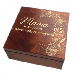 Szkatułka/pudełko z grawerem na Dzień Matki wzór nr 5-bejcowana i lakierowana
