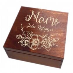 Szkatułka/pudełko z grawerem na Dzień Matki wzór nr 6-bejcowana i lakierowana