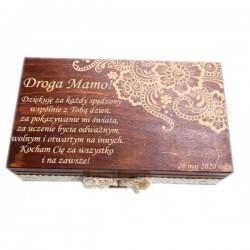 Herbaciarka na 6 przegród z grawerem na Dzień Matki wzór nr 1-bejcowana i lakierowana