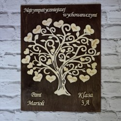 Drzewko podziękowanie dla nauczycieli ze sklejki, tło brąz wenge