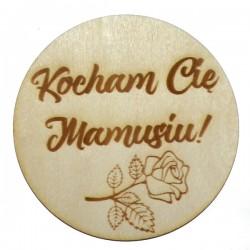 Podkładka pod kubek z grawerem KOCHAM CIĘ MAMUSIU, ze sklejki