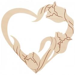 Ażurowe serce Tulipany, ze sklejki