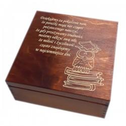 """Pudełko/szkatułka z grawerem """"Podziękowanie dla nauczyciela""""-wzór 3-bejca+lakier"""