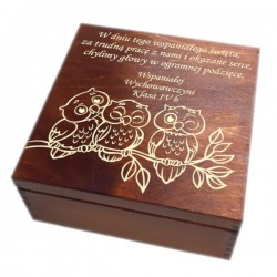 """Pudełko/szkatułka z grawerem """"Podziękowanie dla nauczyciela""""-wzór 6-bejca+lakier"""