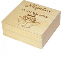 Herbaciarka zestaw prezentowy ze słodkościami dla Nauczyciela personalizowana szkatułka kuferek - zestaw 1, wzór 2