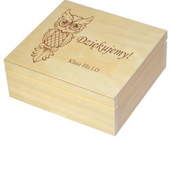 Herbaciarka zestaw prezentowy ze słodkościami dla Nauczyciela personalizowana szkatułka kuferek - zestaw 1, wzór 5