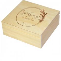 Herbaciarka zestaw prezentowy ze słodkościami dla Nauczyciela personalizowana szkatułka kuferek - zestaw 3, wzór 4