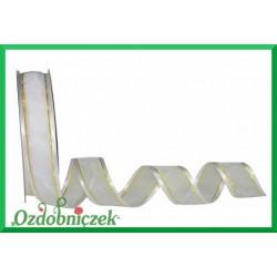 Tasiemka szyfonowa biała z atłasowym brzegiem 25mm WOA4002