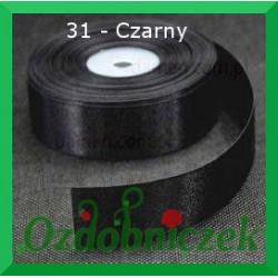 Tasiemka satynowa 25mm czarna 31 SZTYWNA