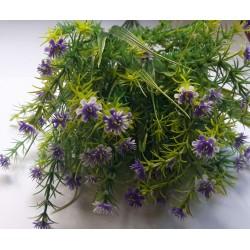 Gałązka dekoracyjna - kwiaty drobne fioletowe z ozdobną trawką 37cm