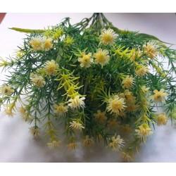 Gałązka dekoracyjna - kwiaty drobne żółte z ozdobna trawką 37cm