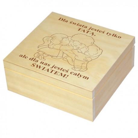 Szkatułka/pudełko z grawerem 17 na Dzień Taty wzór nr 9- naturalna