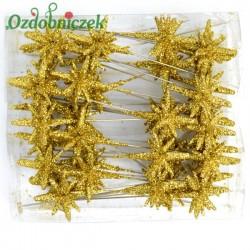 Gwiazdki 3D brokatowe na piku 24 szt. pudełko -ZŁOTE