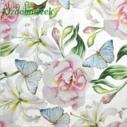 Serwetka do Decoupage róże lilie błękitne motyle 1 szt