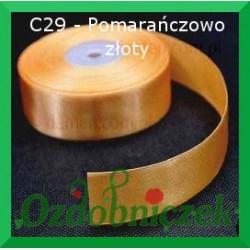 Wstążka satynowa, tasiemka 25mm pomarańczowo złota C29 SZTYWNA