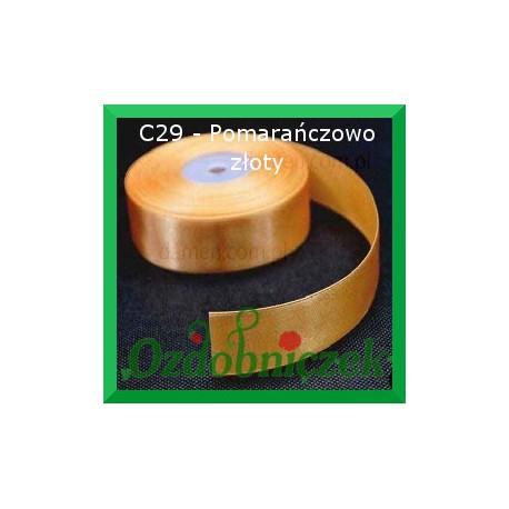 Tasiemka satynowa 25mm pomarańczowo złota C29 SZTYWNA