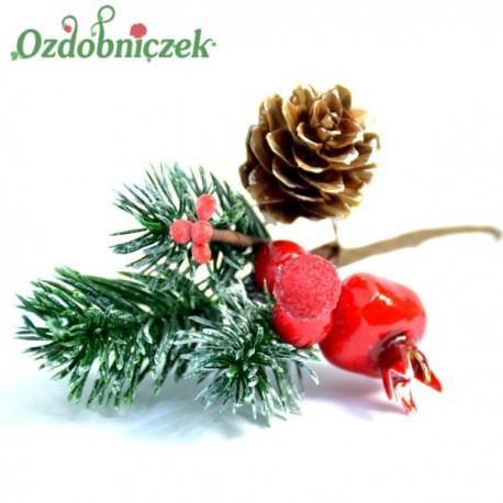 Gałązka ozdobna 16cm ( igliwie, szklana jeżynka, jagódki, szyszka, dzika róża)