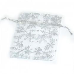 Woreczki białe z organzy w metalizowane srebrne śnieżynki 10x13 cm - 10 szt.