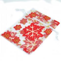 Woreczki białe z organzy w czerwono -złotymi śnieżynkami 10x13 cm - 10 szt.