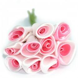Pąki różyczek, bukiecik 10szt, satynowy różowy