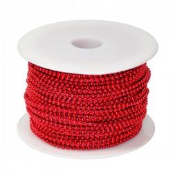 Koraliki na sznurku 3mm/1mb czerwone
