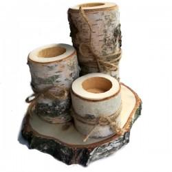 Świeczniki naturalne brzozowe- zestaw 3szt. na plastrze drewna