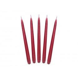 Świeca stożkowa 24 cm czerwona matowa