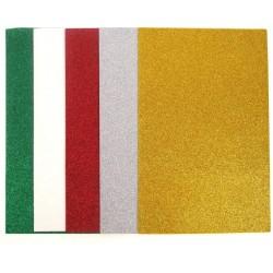 Pianka kreatywna, brokatowa 1mm- zestaw 10 arkuszy, 5 kolorów