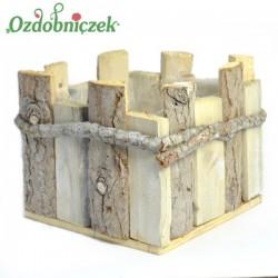Donica kwadrat drewniana, bielona 1szt