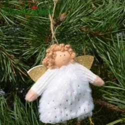 Aniołki w białej futerkowej sukience 12cm-2 szt