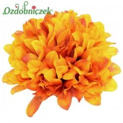 Chryzantema satynowa CZERWONO-POMARAŃCZOWA - główka kwiatowa 14cm