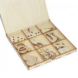 Kształtki ŚLUBNE w drewnianym pudełku 27 szt