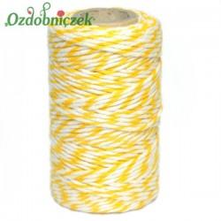 Sznurek bawełniany żółto-biały 100 g
