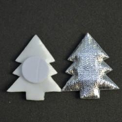 Choinki metalizowane srebrne - aplikacja na przylepcu 3,5cm/20szt.