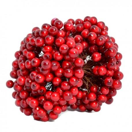 Jagódki czerwone na druciku dwustronne pęk 400 kuleczek