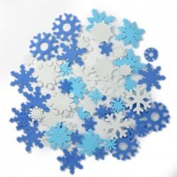 Konfetti MIX 3 kolorów śnieżynki z pianki