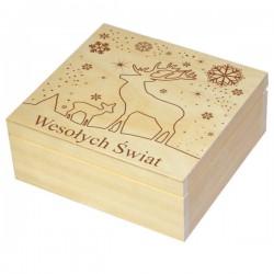 Pudełko herbaciarka 4 z Grawerem świątecznym skrzaty