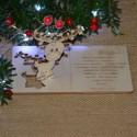 Kartka drewniana na święta życzenia z RENIFEREM + koperta, Twój podpis