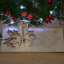 Kartka drewniana na święta życzenia ze ŚWIECZNIKIEM + koperta, Twój podpis