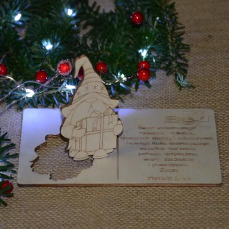 Kartka drewniana na święta życzenia ze SKRZATEM + koperta, Twój podpis