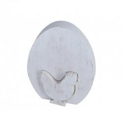 Jajko z kurką stojące drewniane BIAŁE 1 szt -15 cm