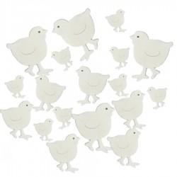 Kurczaki drewniane, białe mix rozmiarów 18 szt