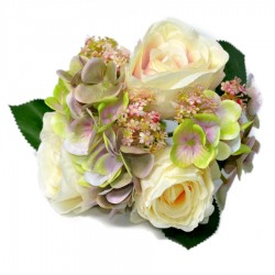 Bukiet hortnesja z różami 6szt krem róż fiolet