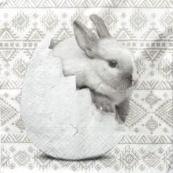 Serwetka do decoupage pluszowy królik i jajeczka 1szt.