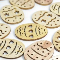 Drewniane pisanki naturalne, ażurowe 24szt