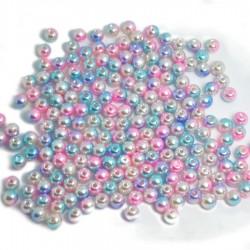 Koraliki cieniowane róż, błękit, krem pastelowe perłowe jeżynki 14 mm 50g