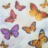 Serwetka do decoupage - motyle pomarańczowe i fioletowe